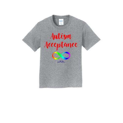 Crew Infinity Autism Acceptance 50/50 Blend Tees (Red/Rainbow)